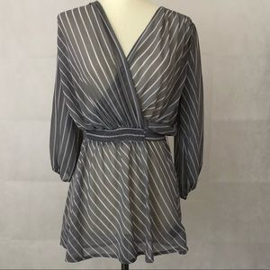 Express Semi-Sheer Striped Top
